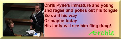 Chris Pyne's immature and young and rages and pokes out his tongue So do it his way Or maybe today His tanty will see him fling dung!