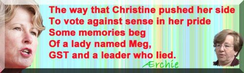 The way that Christine pushed her side To vote against sense in her pride Some memories beg Of a lady named Meg, GST and a leader who lied