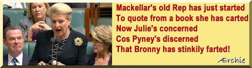 Mackellar's old Rep has just started To quote from a book she has carted Now Julie's concerned Cos Pyney's discerned That Bronny has stinkily farted!