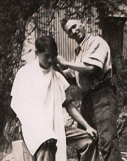 DA Bishop receiving a haircut (Julie Bishop's Father and Grandfather) Circa 1920