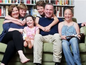 Christopher and Caroline Pyne with their children Eleanor, 12, Barnaby, 12, Felix, 10 and Aurelia, 5. Picture: Simon Cross Source: News Limited