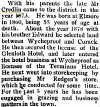 Obituary, John L CREDLIN. From the Mount Wycheproof Ensign and East Wimmera Advocate, Friday 3 September 1915