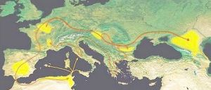 The migrations of the Alans during the 4th–5th centuries AD, from their homeland in the North Caucasus. Major settlement areas are shown in yellow, Alan civilian emigration in red, and military campaigns in yellow.