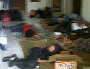 Asylum seekers resting in Cidaun this morning after being rescued. Picture: Supplied (Perth Now)